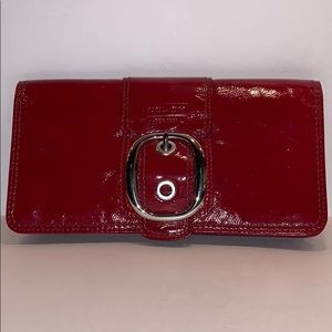 Coach Patent Leather Red Clutch Wallet Buckle Flap